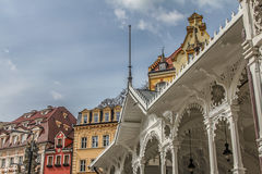 Beautiful colorful buildings, colonnade and street in Karlovy Vary Royalty Free Stock Photography