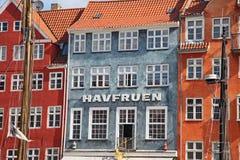 Beautiful colorful buildings in Copenhagen stock images