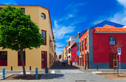 Beautiful colorful buildings in the old town of Puerto De La Cruz. One of the most popular touristic town Royalty Free Stock Images