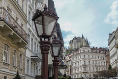 Beautiful colorful buildings and street in Karlovy Vary Royalty Free Stock Photo