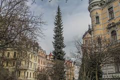 Beautiful colorful buildings and street in Karlovy Vary Royalty Free Stock Photography