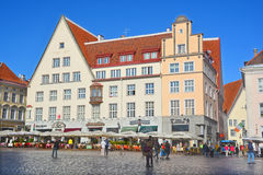 Beautiful colorful buildings of Town Hall Square Stock Images