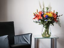 Colorful bunch of flowers on a table royalty free stock image