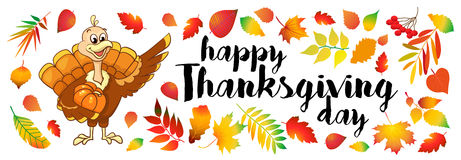 Beautiful, colorful cartoon of turkey bird for Happy Thanksgiving celebration, can be use as flyer, poster or banner Royalty Free Stock Photos