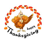 Beautiful, colorful cartoon of turkey bird for Happy Thanksgiving celebration, can be use as flyer, poster or banner Stock Images