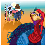 Beautiful, colorful cartoon of turkey bird for Happy Thanksgiving celebration. Royalty Free Stock Images