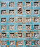 Beautiful Colorful Carved Wooden Door as an Architectural Art Design Element Royalty Free Stock Photography