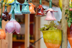 Beautiful colorful ceramic bells row Royalty Free Stock Photography