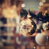 Beautiful colorful Christmas decorations. Christmas tree - concept for winter time and holiday season stock image