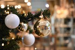 Beautiful colorful Christmas decorations. Christmas tree - concept for winter time and holiday season stock photography