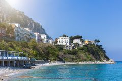 Beautiful colorful cityscape on the mountains over sea, Europe, traditional Italian architecture. Amalfi Coast - architectural and royalty free stock image