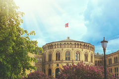 Beautiful colorful cityscape with parliament of Oslo city Royalty Free Stock Photography