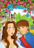 Cartoon happy couple talking in the garden full of roses. Beautiful and colorful classic illustration for children for different fairy tales Stock Photography