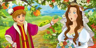 Cartoon happy young bride brother talking in the garden full of roses Stock Images