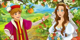 Cartoon happy young bride brother talking in the garden full of roses Stock Photography