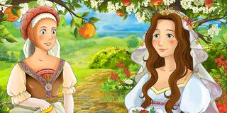 Cartoon happy young bride and servant talking in the garden full of roses Royalty Free Stock Photos