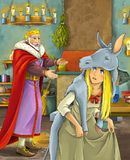 Cartoon scene with happy king in castle kitchen talking to beautiful young lady vector illustration
