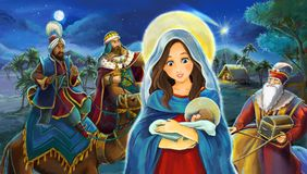 Cartoon scene with Mary and Jesus Christ and traveling kings stock illustration
