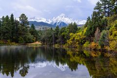 Beautiful and Colorful Colorado Rocky Mountain Autumn Scenery - royalty free stock image