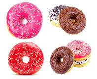 Beautiful colorful donuts with sprinkles. Collection of donuts. Royalty Free Stock Images
