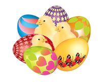 Beautiful colorful Easter eggs isolated Royalty Free Stock Image