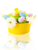 Colorful Easter eggs and chick Royalty Free Stock Images