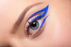 Beautiful and colorful eye makeup. Stock Photo