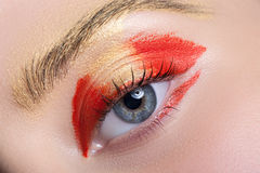 Beautiful and colorful eye makeup. Royalty Free Stock Photography
