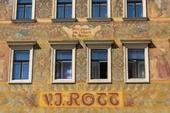 Beautiful colorful facede from Mikolas Ales on old V. J. Rott building from 1890 at Male namesti near the Old Town Square, Prague. Czech Republic, UNESCO World stock photography