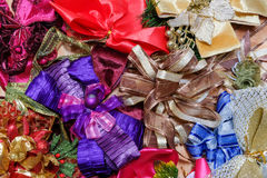Beautiful colorful festive bows background.  Stock Photos