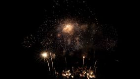 Beautiful colorful fireworks on celebration day stock video footage