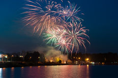 Beautiful colorful fireworks at night Royalty Free Stock Photography