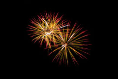 Beautiful Colorful fireworks over dark sky Royalty Free Stock Image
