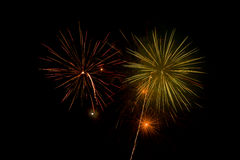Beautiful and colorful fireworks and sparkles for celebrating new year or other event Royalty Free Stock Photo