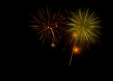 Beautiful and colorful fireworks and sparkles for celebrating new year or other event Stock Photo
