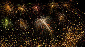 Beautiful colorful fireworks of various colors over night sky. Shots of various colorful Sky rockets. Fireworks are something that evoke a lot of emotion in Stock Photography