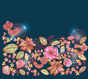 Beautiful colorful floral background with birds Royalty Free Stock Images