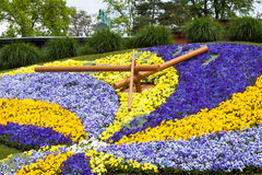 Beautiful and colorful floral clock in geneva switzerland - Swis. S horology symbol Stock Images