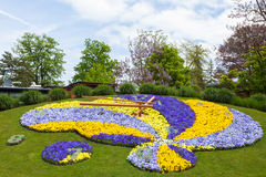 Beautiful and colorful floral clock in geneva switzerland - Swis. S horology symbol Stock Photo