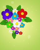 Beautiful colorful flowers. Beautiful colorful flowers on green background Stock Images
