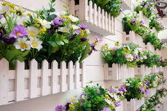 Beautiful colorful flowers pattern on the wall background in Shanghai Stock Photo