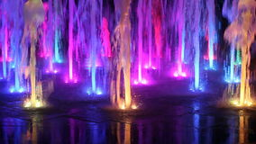 Beautiful colorful fountain at night stock video