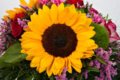 Beautiful colorful fresh sunflower in a bouquet Royalty Free Stock Photo
