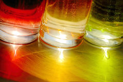 Beautiful colorful glasses or glass. Beautiful bright colorful red, green, yellow glasses Stock Image