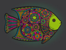 Beautiful colorful hand drawn  fish. With floral elements in bright colors Stock Photo