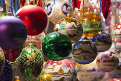 Beautiful colorful handmade christmas tree balls and decorations Stock Images