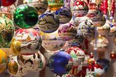Beautiful colorful handmade christmas tree balls and decorations Royalty Free Stock Photos