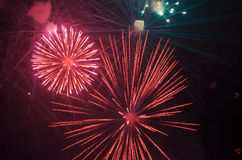 Beautiful colorful holiday fireworks Stock Photography