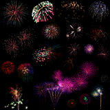 Beautiful colorful holiday fireworks Stock Images