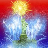 Beautiful colorful holiday fireworks over The Statue of Liberty. stock photo